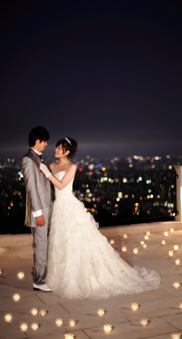 夜晚 景觀台 婚紗照效果